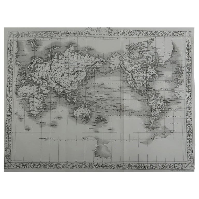 Original Antique Map of The World by John Rapkin, circa 1850 For Sale