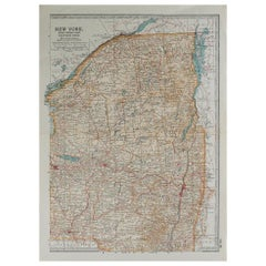 Original Antique Map of Upstate New York, circa 1890