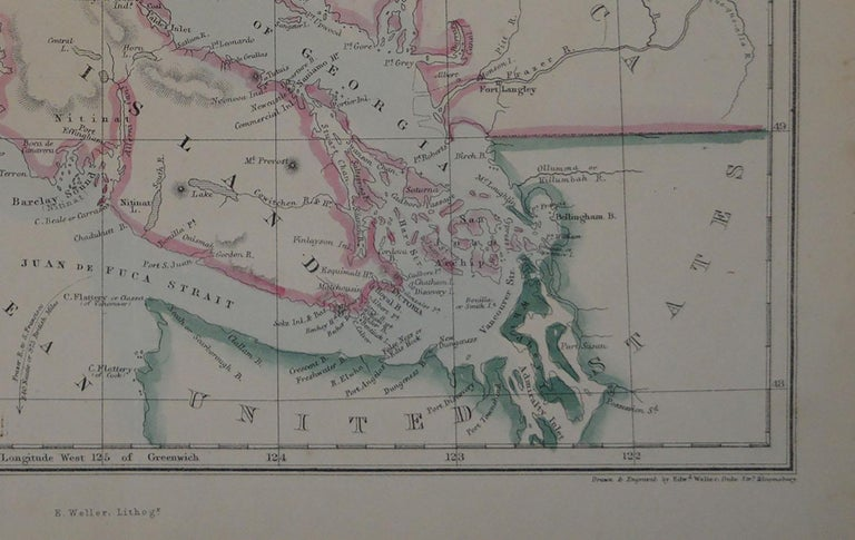Other Original Antique Map of Vancouver by Edward Weller, 1861 For Sale