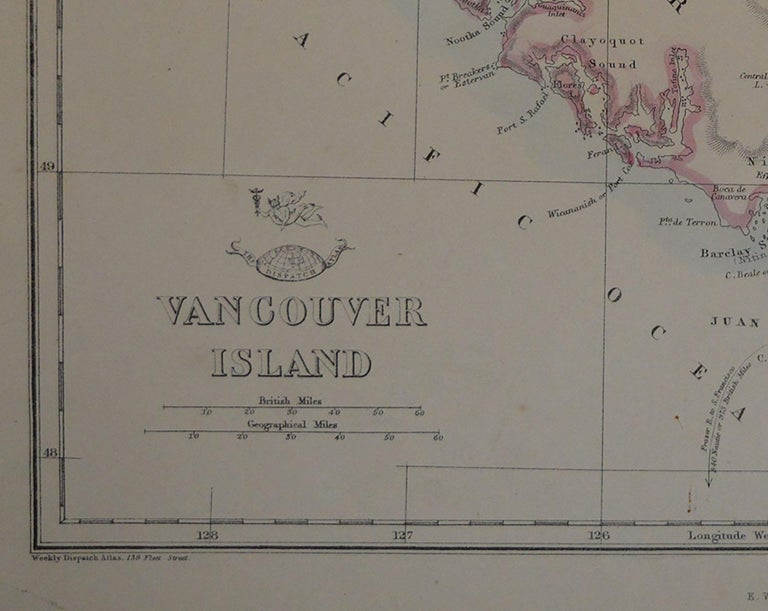 English Original Antique Map of Vancouver by Edward Weller, 1861 For Sale