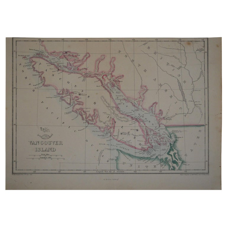 Original Antique Map of Vancouver by Edward Weller, 1861 For Sale