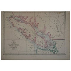 Original Antique Map of Vancouver by Edward Weller, 1861