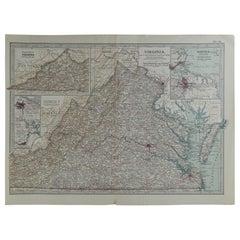 Original Antique Map of Virginia, circa 1890