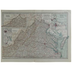 Original Antique Map of Virginia, circa 1890