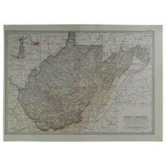 Original Antique Map of West Virginia, circa 1890