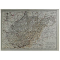 Original Antique Map of West Virginia, circa 1890