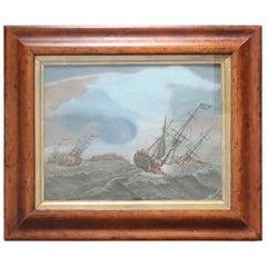 Original Antique Marine Print in a Bird's-Eye Maple Frame, circa 1800