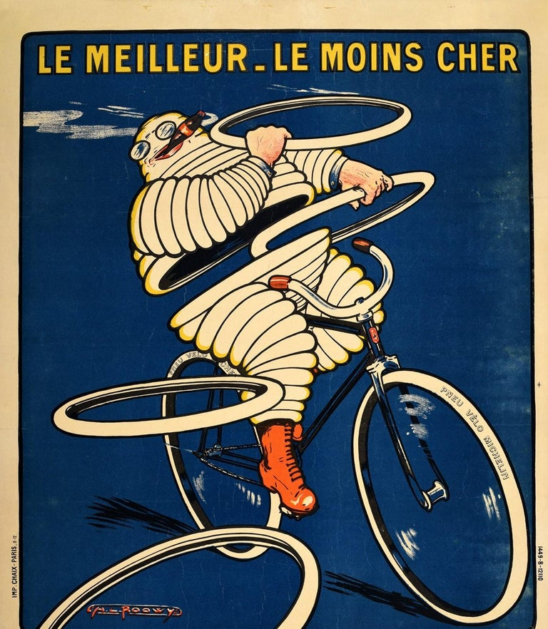 Original antique advertising poster for Pneu Vélo Michelin bike tires featuring an iconic illustration of the Bibendum / Michelin Man character made out of white tyres, riding a bike at speed and smoking a cigar as he frisbees tyres towards the