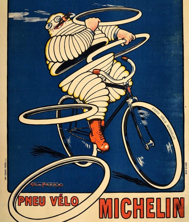French Original Antique Michelin Poster Pneu Velo Michelin Man Bibendum Bicycle Tires