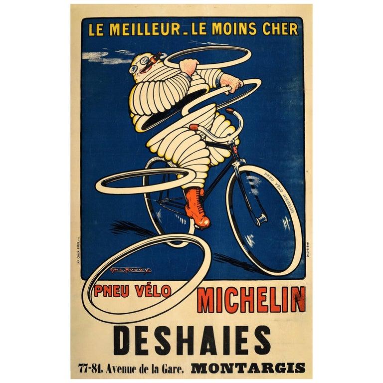 Original Antique Michelin Poster Pneu Velo Michelin Man Bibendum Bicycle Tires