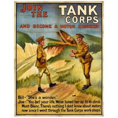 Original Antique Military Recruitment Poster Join The Tank Corps Motor Engineer