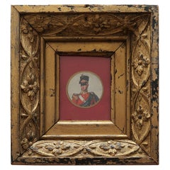 Original Antique Miniature Print of a Gentleman in Military Costume