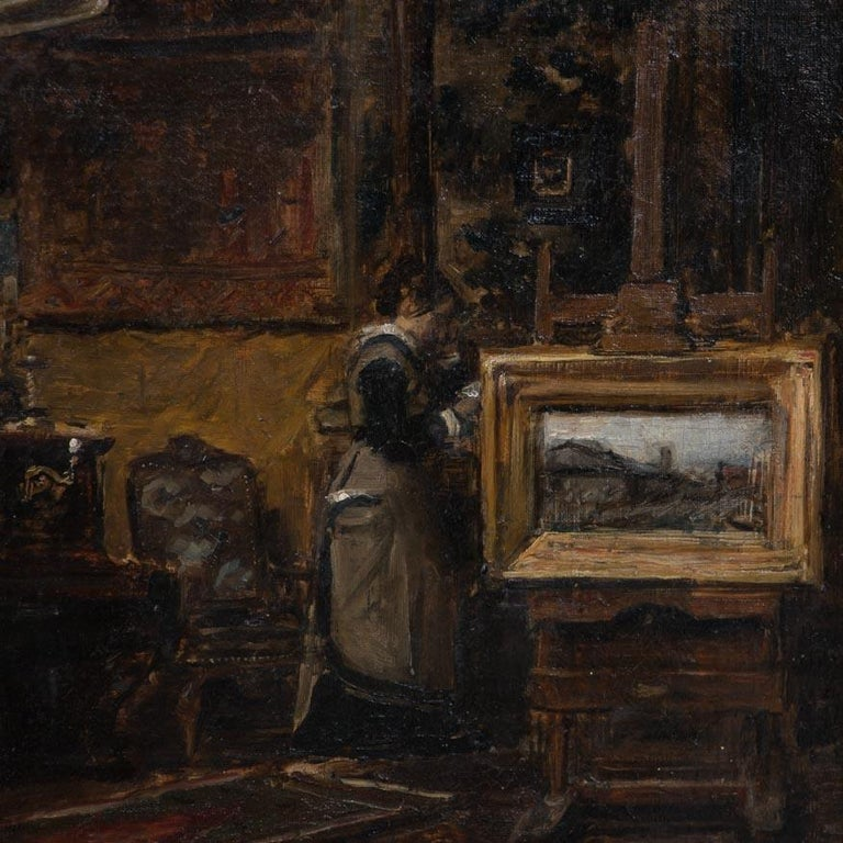 The depth of this interior scene with it's rich, lush furnishings, tapestries and paintings is remarkable. Possibly the artist's parlour or studio, the eye is drawn around the room from the easel to the piano to the oriental carpets. Artist Karl