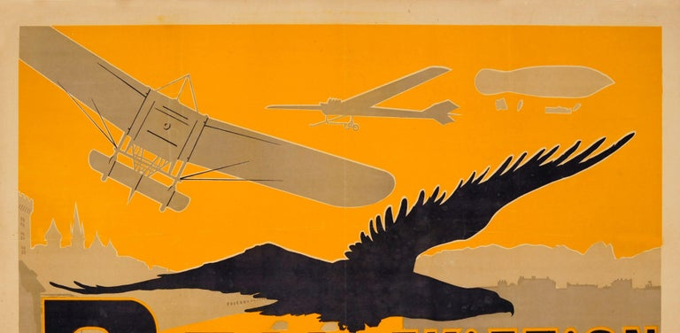 Original antique poster promoting PAU aviation featuring a dynamic Art Nouveau illustration by the French artist Ernest Gabard (1879-1957) depicting a race of planes and airships flying from Pau to Paris above the cities with a Silhouette of an
