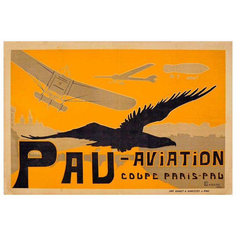 Original Antique Pau Aviation Poster Race Coupe Paris Pau Airfield Flying School