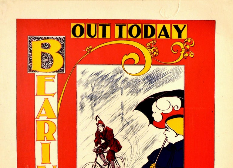 Original antique advertising poster for a popular cycling magazine Bearings featuring a great Art Nouveau style design by the American artist Charles Arthur Cox depicting a lady in fashionable dress standing on the side with an umbrella looking