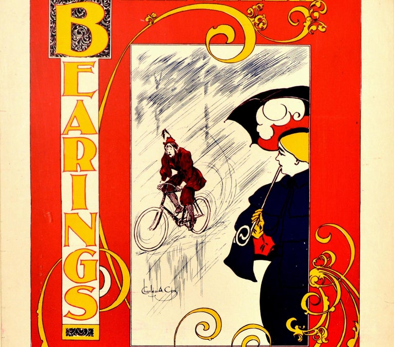 Original Antique Poster Bearings US Cycling Magazine Art Nouveau Design Cyclist In Good Condition For Sale In London, GB