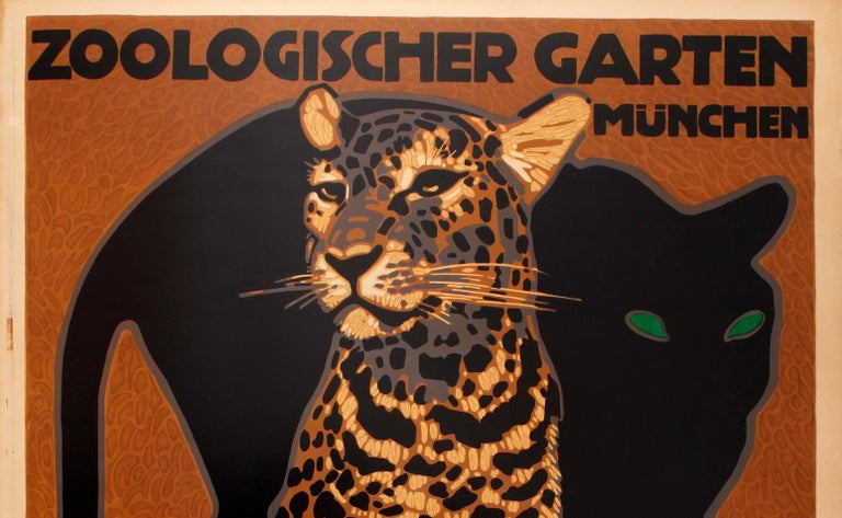 Original vintage travel advertising poster for Munich Zoo Park / Zoologischer Garten Munchen by the notable German graphic artist Ludwig Hohlwein (1874-1949). Stunning artwork featuring a black panther with green eyes behind a leopard sitting