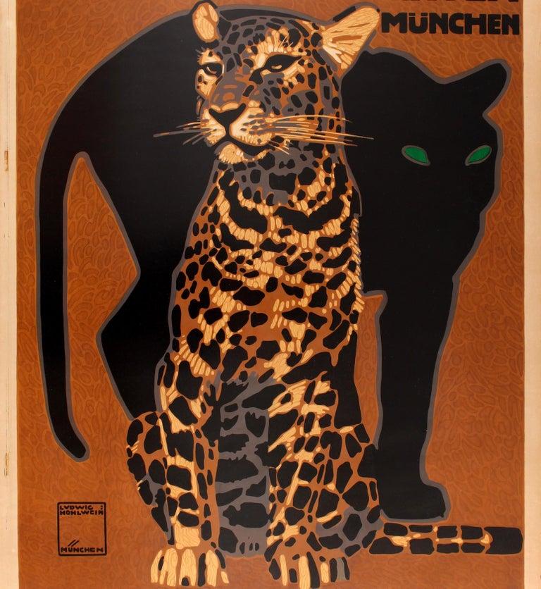 German Original Antique Poster by Hohlwein for Munich Zoo - Zoologischer Garten Munchen For Sale