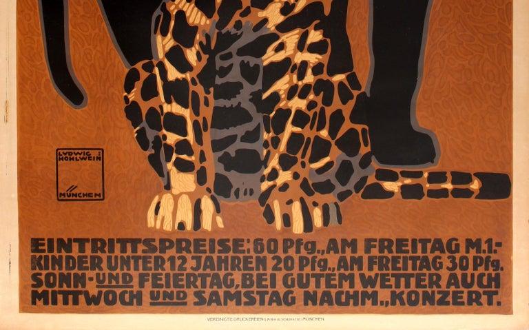 Original Antique Poster by Hohlwein for Munich Zoo - Zoologischer Garten Munchen In Good Condition For Sale In London, GB
