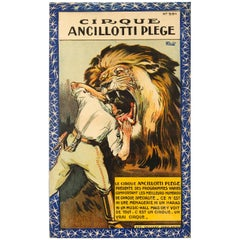 Original Antique Poster Cirque Ancillotti Plege French Circus Ft. Lion Tamer Act