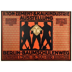 Original Antique Poster Clay Cement Lime Industry Exhibition Berlin Industry TZK