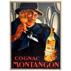Original Antique Poster Cognac Montangon France Alcohol Drink Advertising Art