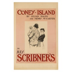 Original Antique Poster Coney Island In July Scribner's Magazine 1896 New York