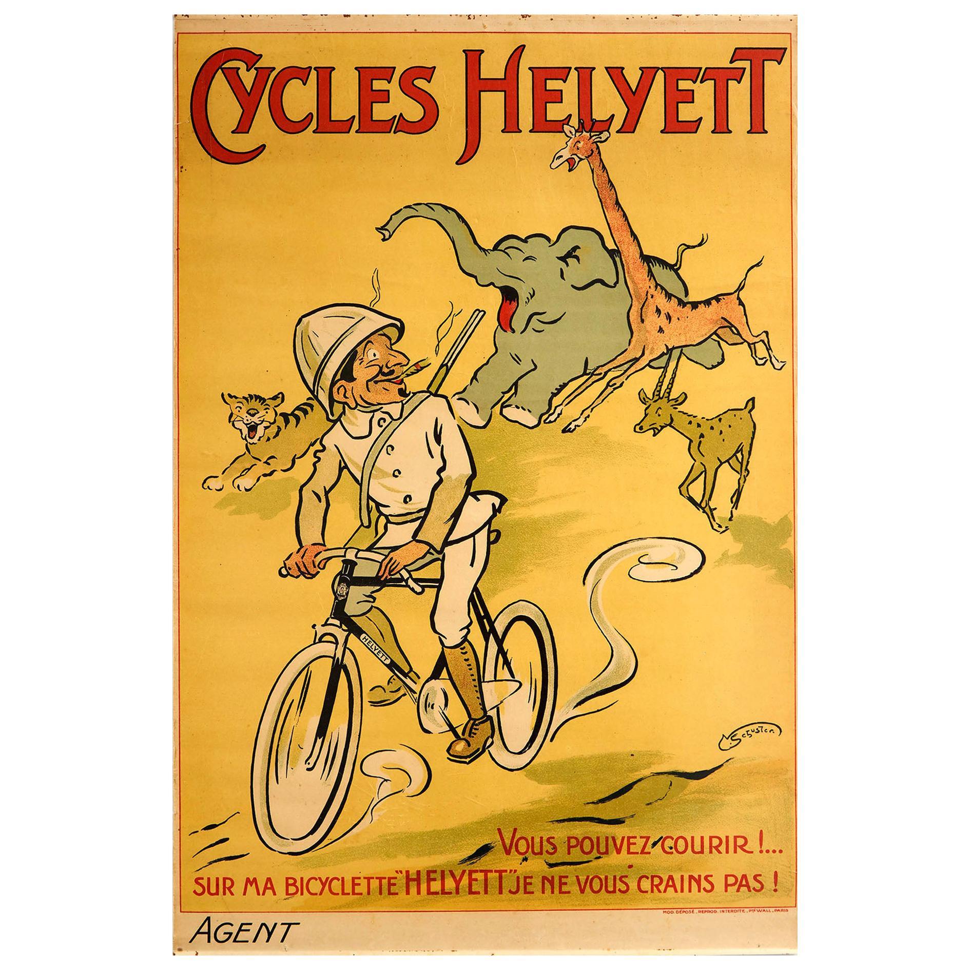 Original Antique Poster Cycles Helyett French Bicycle Safari Animals Design Art