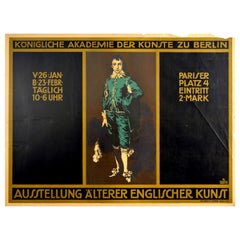 Original Antique Poster Early English Art Exhibition Kunst Royal Academy Berlin