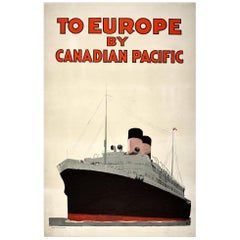 Original Antique Poster Europe Canadian Pacific Cruise Ship Travel Ocean Liner
