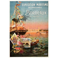 Original Antique Poster Exposition Maritime Internationale Bordeaux 1907 France