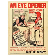 Original Antique Poster Eye Opener Tariff Reform Food Taxes German British Bread