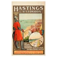 Original Antique Poster Hastings St Leonards William The Conqueror Travel Paris