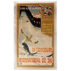 Original Antique Poster IV Concours International De Ski Jump Alpine Club France