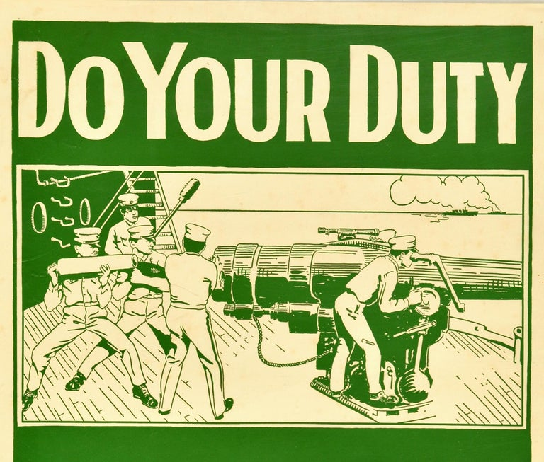 Original antique World War One military recruitment poster - Do Your Duty Join the U.S. Marines Help them defend America on Land and Sea Apply at 429 Custom House Building Baltimore MD - featuring artwork in green and white depicting a scene on