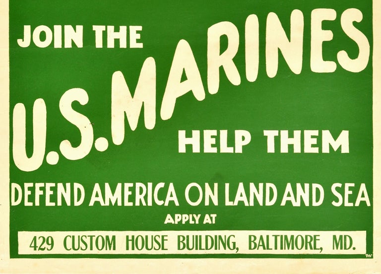 American Original Antique Poster Join The US Marines WWI Military Recruitment War Ship For Sale