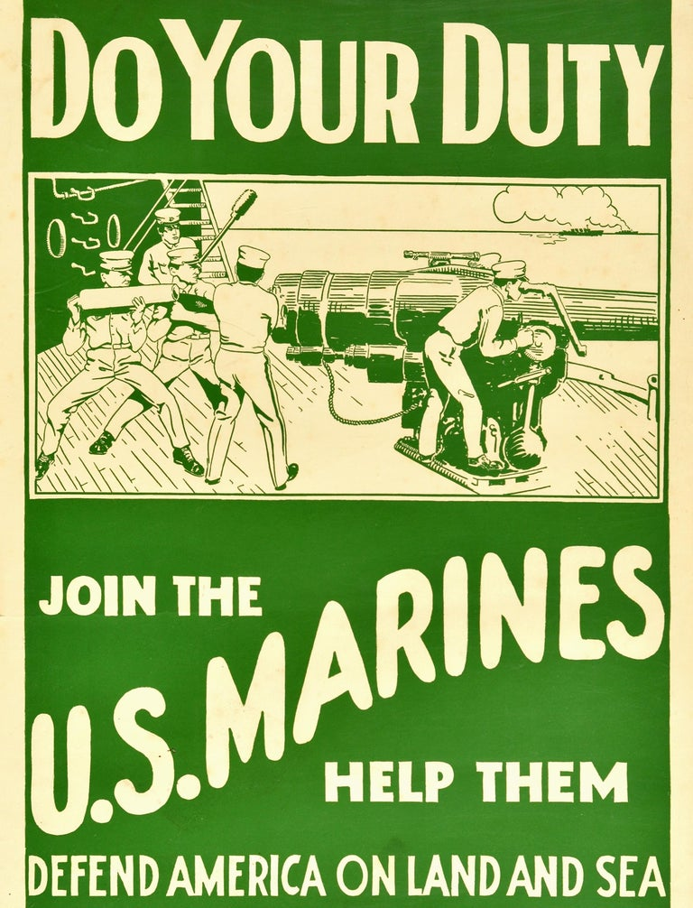 Original Antique Poster Join The US Marines WWI Military Recruitment War Ship In Good Condition For Sale In London, GB