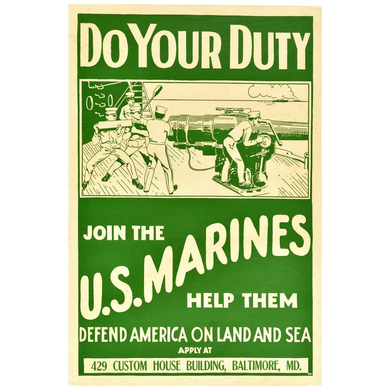 Original Antique Poster Join The US Marines WWI Military Recruitment War Ship For Sale