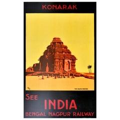 Original Antique Poster Konarak See India Bengal Nagpur Railway The Black Pagoda