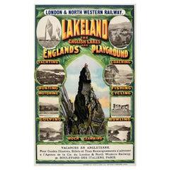 Original Antique Poster Lakeland LNER Lake District Sailing Golf Rock Climbing