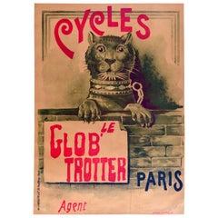 Original Antique Poster Le Glob' Trotter Cycles Paris Bicycle Lion Design Bike