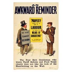 Original Antique Poster Liberal Party An Awkward Reminder Food Tax Tariff Reform