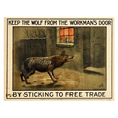 Original Antique Poster Liberal Party Politics Free Trade Protection Wolf Design