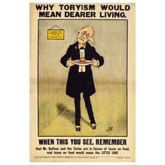 Original Antique Poster Liberal Party Politics Tory Party Dearer Living Food Tax