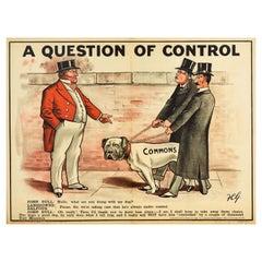 Original Antique Poster Liberals Control Commons Lords Tory John Bull Dog Design