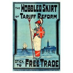 Original Antique Poster Liberals Tariff Reform Free Trade Britannia Flag Design
