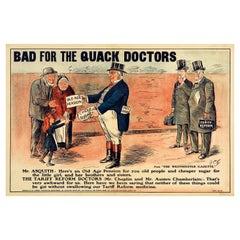 Original Antique Poster Liberals Tariff Reform Pension Free Trade Quack Doctors