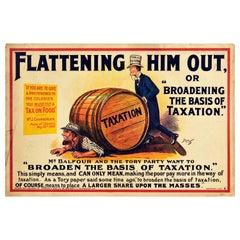 Original Antique Poster Liberals Tory Party Politics Taxation Tariff Reform Food
