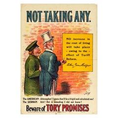 Original Antique Poster Liberals Tory Promises Tariff Reform German & Uncle Sam